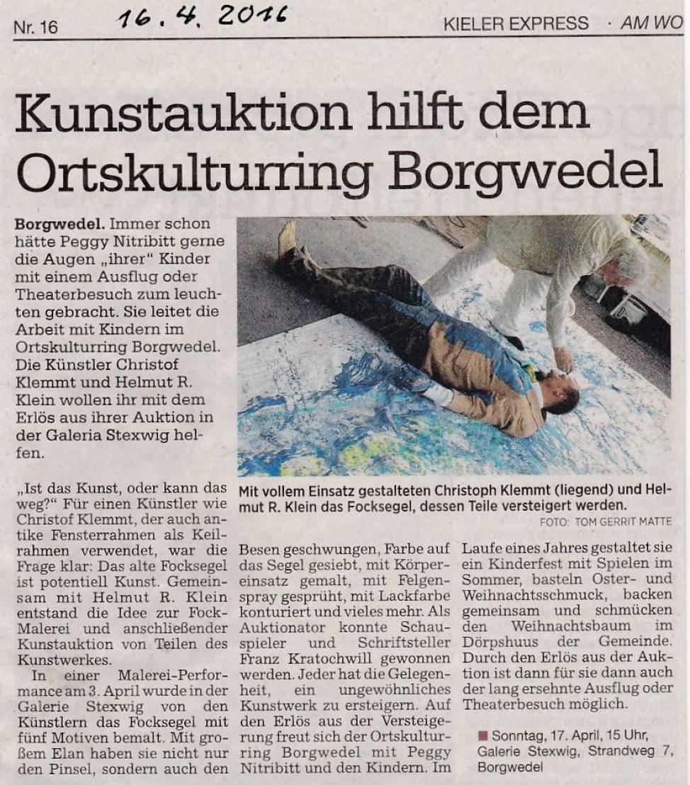 2016 04 Kunstauktion  Malerei-Performance auf einem Focksegel / Kieler Express Kunstauktion